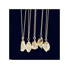 1pc natural stone crystal rock necklace gold plated quartz pendant