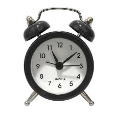 black tabletop double bell alarm clock traditional bedside loud snooze clock