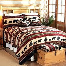 cabin bedding sets bear adventure fleece bed rustic sheets quilt log qu