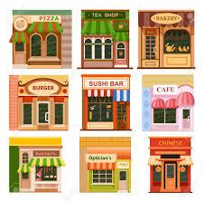 fancy restaurant building clipart. Beautiful Fancy Flat Style Cafe Restaurant Shop Store Little Tiny Fancy Icon On Building Clipart T