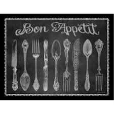 silverware knives forks and spoons bon appetit chalkboard poster by jean plout framed painting print on kitchen fork knife spoon wall art french painting with knife fork spoon wall art wayfair