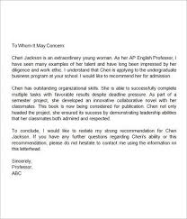 Sample Letter Of Recommendation For High School Student From Teacher Letter Of Recommendation For Middle School Student Teacher