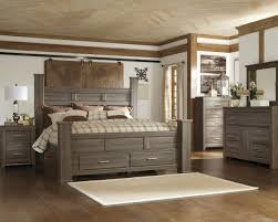 4pc Poster Storage Bedroom Set In Dark Brown