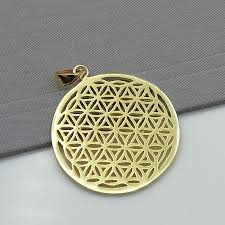 gold flower of life pendant silver with gold dipped flo