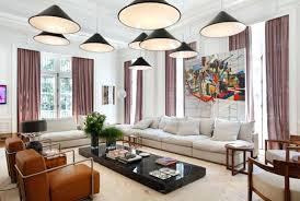 living room pendant lighting ideas living room multi cone shade pendant lamps over white sectional sofa
