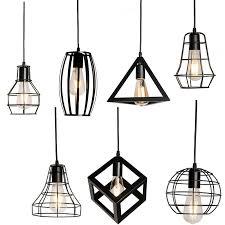 7 type modern black cage pendant lights iron minimalist retro nordic loft pyramid lamp metal hanging lamp e27 indoor pendant lampshades art glass pendant