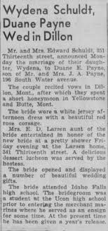 Wydena Schuldt wedding Post Register Idaho Falls, Idaho 10 June 1946 -  Newspapers.com
