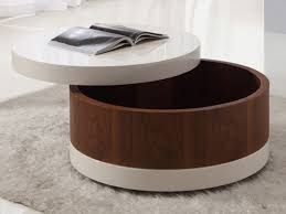 white cover round coffee table with drawers contemporary modern stained varnished large size storage