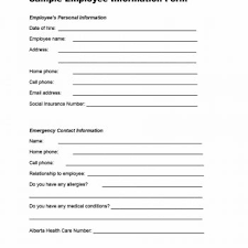employment information sheet employment information form template printable employee practical