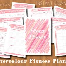 Diet And Exercise Journal Printable Printable Fitness Planner Pink Watercolour Diet Exercise Weight Loss Tracker Health And Fitness Goal Journal Instant Download Pdf