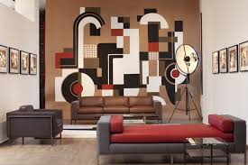 To Paint Living Room Walls Abstract Painting On Brown Living Room Walls With Elegant