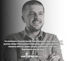 """CHP İstanbul Gençlik Kolları on Twitter: """"Konyaaltı Gençlik Örgütü  Başkanımız Deniz Demiral'ı trafik kazası sonucu kaybetmenin derin  üzüntüsünü yaşıyoruz. Yol arkadaşımıza Allah'tan rahmet, ailesine ve  sevenlerine sabırlar diliyoruz. Örgütümüzün başı ..."""