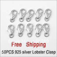 whole whole 50pcs a lot 925 sterling silver platinum plate jewelry findings lobster clasp