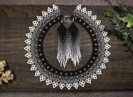 Monochrome beaded <b>necklace</b>, <b>Seed bead</b> collar <b>necklace</b> | <b>Серьги</b> ...