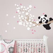 cherry blossom branch wall decal with panda and erflies