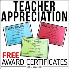 Free Appreciation Certificates Free Teacher Appreciation Award Certificates By Erin Waters