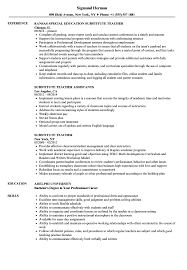 Job Description For Substitute Teacher For Resume Substitute Teacher Resume Samples Velvet Jobs 30
