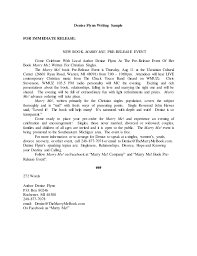 Sample Press Release For Book Writing Sample Press Release
