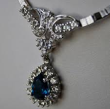 835 silver necklace with pendant large drop cut blue stone strass