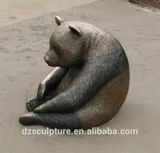 cast bronze panda garden statue for