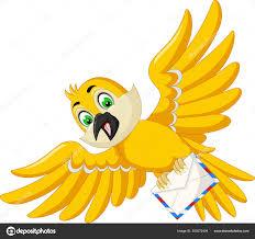 Yellow Bird Design Funny Yellow Bird Flying Cartoon Your Design Stock Vector