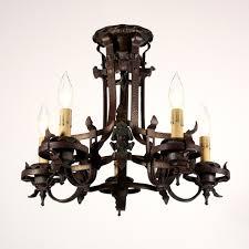 sold wonderful antique spanish revival semi flush mount iron five light chandelier c