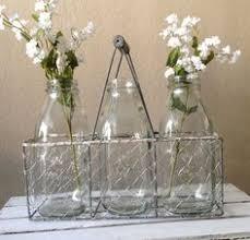 Decorative Milk Bottles Bloom Thrive and Grow Milk Bottle Vases with Holder Bottle 61