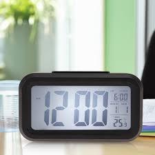 time date alarm clock temperature display led alarm clock light activated sense snooze function calendar