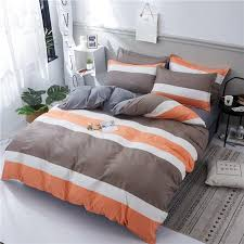 luxury fashion bedding sets brown orange white stripes duvet cover business bed sheet twin full queen king size bedclothes comforter sets navy blue