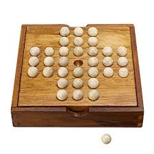 Wooden Peg Solitaire Game