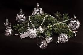 21tlg Set Christbaumschmuck Transparent Silber Christrose Lauschaer Weihnachtskugeln Aus Glas