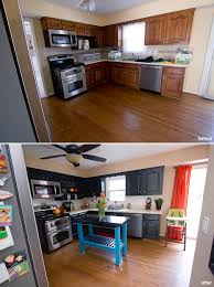 Home Built Kitchen Cabinets Painted Cabinets And Painted Backsplash Before And After Home