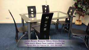 Julian Bowen Brescia Cm Glass Dining Table And  Black Faux - Faux leather dining room chairs