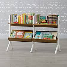 Danish Modern Walnut & White Wide Bookcase