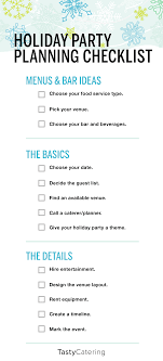 company holiday party planning checklist tasty catering holiday checklist