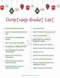 Free Download Christmas Bucket List Printable Northern