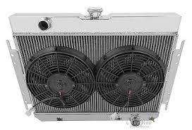 1959 1963 chevy impala mc281 champion 4 row aluminum radiator 1965 1966 chevy impala cc289 3 row champion aluminum radiator fans 1 relay