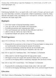 Bartender Resume Mesmerizing Gallery Of Bartender Resume Summary Best Resume Gallery Bartending