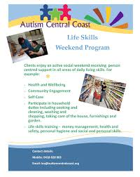 life skills weekend program autism central coast life skills weekend program