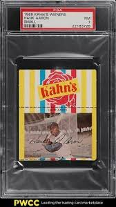 1969 Kahn's Wieners Hank Aaron Pequeno Autenticador de esportes  profissionais 7 NRMT | eBay