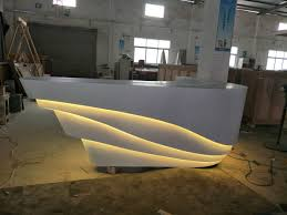 Reception Counter Design Hot Item Fancy Design Artificial Marble Reception Desk With Led Light