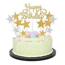Happy Birthday Monogram And Gold Silver Star Cake Cupcake