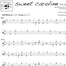 Sweet Caroline Neil Diamond Drum Sheet Music