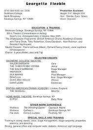 Dance Resume Format Special Skills On A Dance Resume Luxury Actor