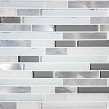 6 of 11 sample white glass stone metal linear glass mosaic tile kitchen backsplash wall