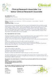 Clinical Research Associate Job Description Resume Clinical Research Associate II Or Senior Clinical Research 8