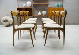 Set Of 8 Vintage Chairs By Esszimmerstühle In Wood And Fabric 1960s