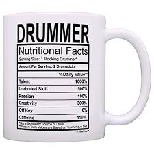 drummer gifts drummer nutritional facts label percussion drum player gift coffee mug tea cup white