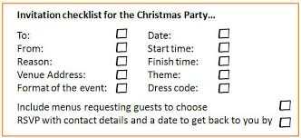 Invitation checklist for the christmas party