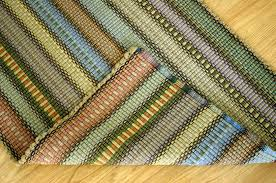 handwoven rag rug woven cotton rug runner shades of autumn